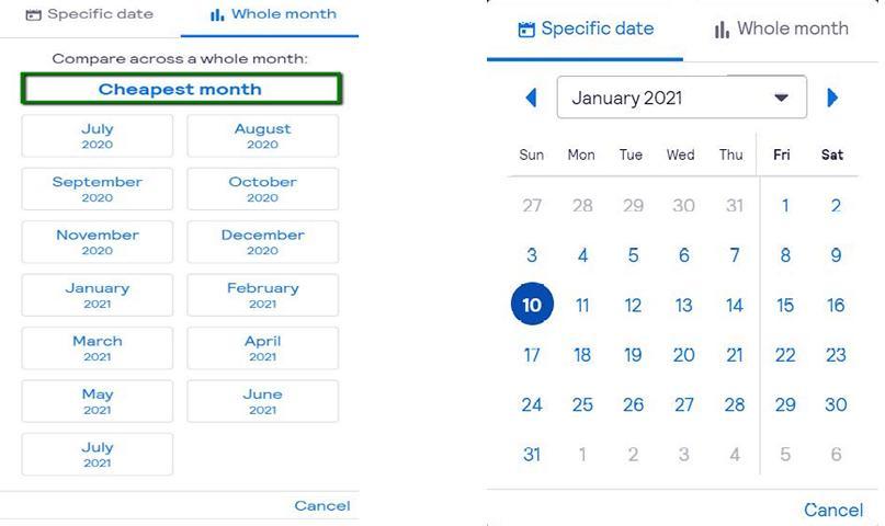 מדריך סקייסקנר - מסך חיפוש לפי חודש